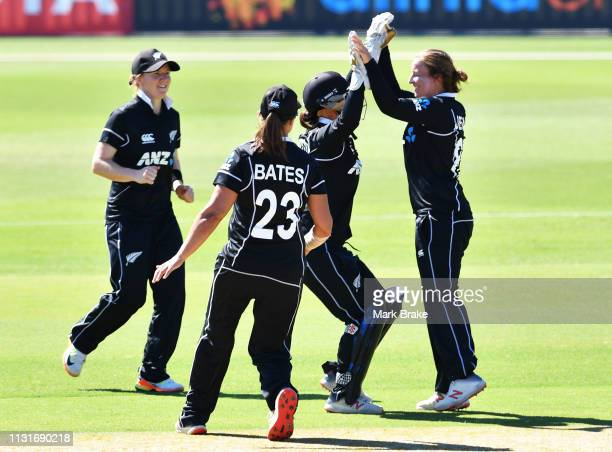 Hayley Jensen of New Zealand celebrates after taking the wicket of Meg Lanning of Australia during game two of the One Day International Series...