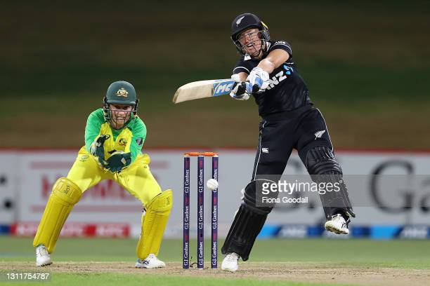 Hayley Jensen of New Zealand plays a shot during game three of the One Day International series between the New Zealand White Ferns and Australia at...
