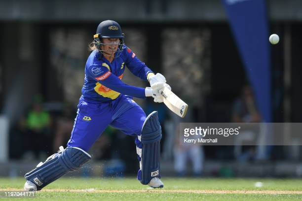 Hayley Jensen of the Otago Sparks plays a shot during the Dream11 Super Smash match between Central Hinds and the Otago Sparks at McLean Park on...
