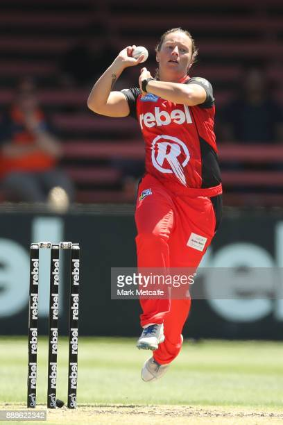 Hayley Jensen of the Renegades bowls during the Women's Big Bash League WBBL match between the Melbourne Renegades and the Sydney Thunder at North...