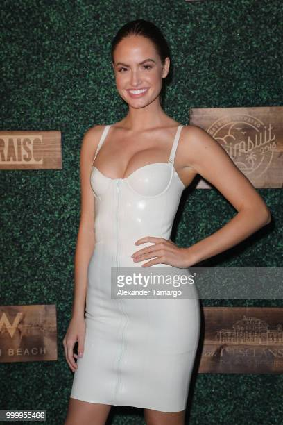 Hayley Kalil attends the 2018 Sports Illustrated Swimsuit show at PARAISO during Miami Swim Week at The W Hotel South Beach on July 15 2018 in Miami...