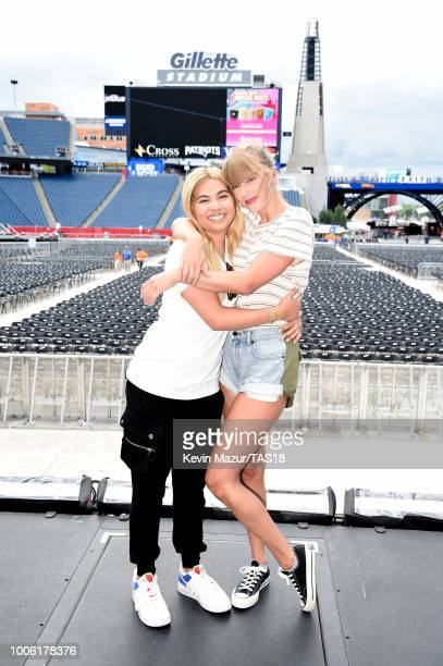 Hayley Kiyoko and Taylor Swift attend rehearsals during the Taylor Swift reputation Stadium Tour at Gillette Stadium on July 26 2018 in Foxborough...
