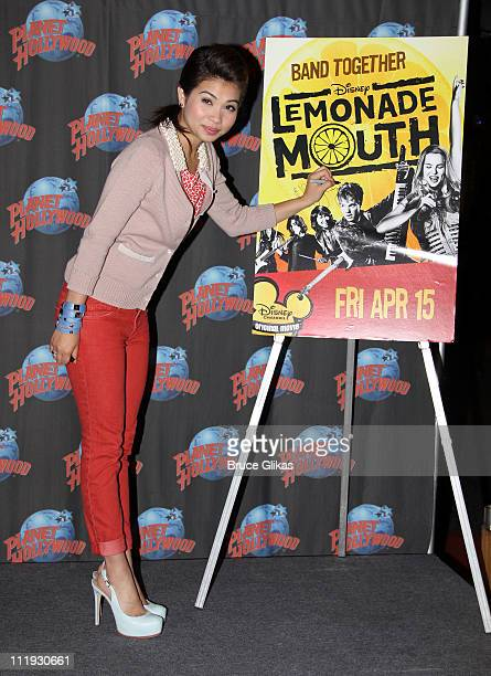 Hayley Kiyoko promotes The Disney Channel movie 'Lemonade Mouth' as she visits Planet Hollywood Times Square on April 8 2011 in New York City