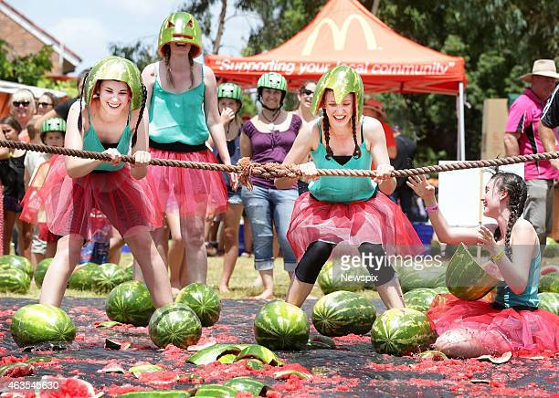 Hayley Knight Sandra Griffiths Rachel Bettiens and Emma Wratten take part in the water melon skiing event during the biennial Chinchilla Melon...
