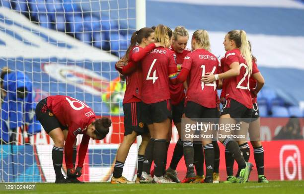 Hayley Ladd of Manchester United celebrates scoring her teams second goal during the Barclays FA Women's Super League match between Reading Women and...