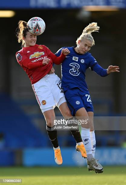 Hayley Ladd of Manchester United challenges for the high ball with Pernille Harder of Chelsea during the Barclays FA Women's Super League match...