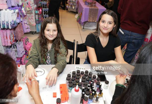 Hayley LeBlanc and Annie LeBlanc attend Claire's Birthday Celebration at Claire's in the Glendale Galleria on March 24 2019 in Glendale California