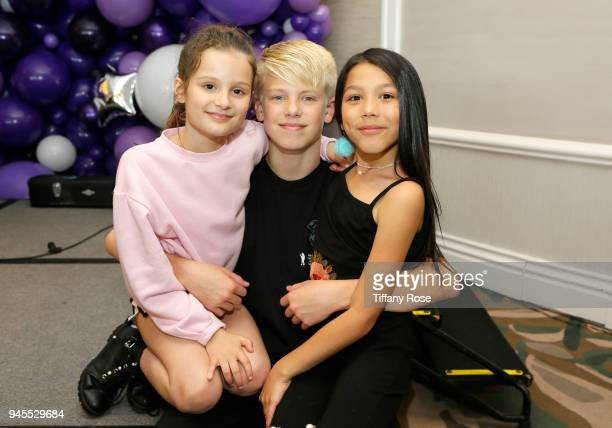 Hayley LeBlanc, Carson Leuders and Txunamy attend Claire's Dream Big Awards at the Beverly Hills Hotel on April 12, 2018 in Beverly Hills, California.