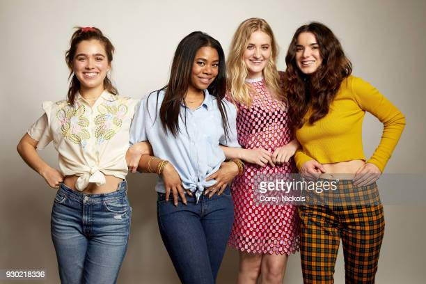 Hayley Lu Richardson Regina Hall AJ Michalka and Dylan Gelula from the film Support The Girls poses for a portrait in the Getty Images Portrait...