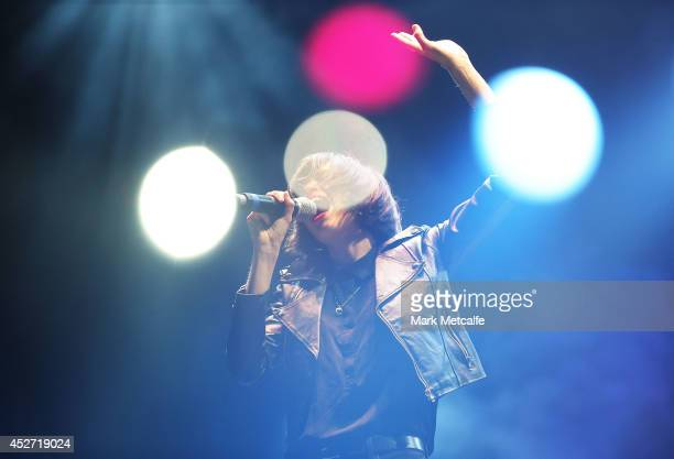 Hayley Mary of The Jezabels performs on stage at Splendour In the Grass 2014 on July 26 2014 in Byron Bay Australia