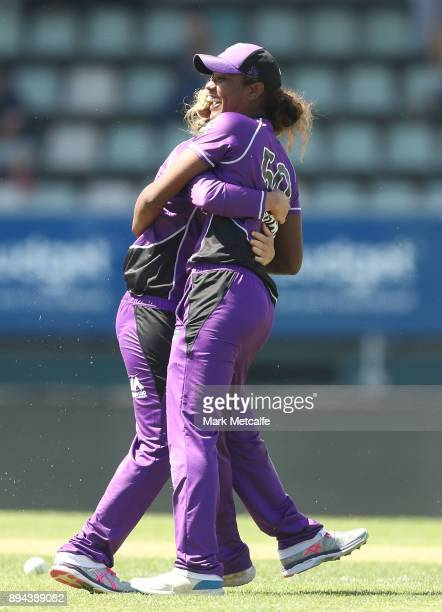 Hayley Matthews of the Hurricanes celebrates taking the wicket of Ange Reakes of the Sixers during the Women's Big Bash League match between the...