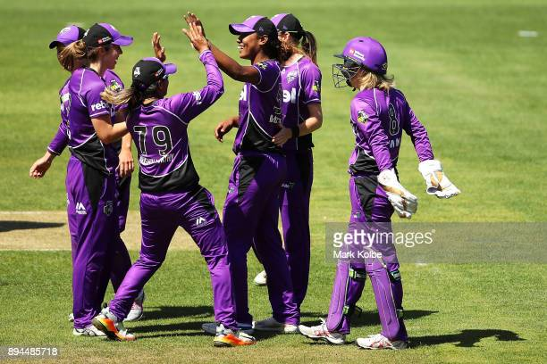 Hayley Matthews of the Hurricanes celebrates with her team after running out Sarah Aley of the Sixers during the Women's Big Bash League match...