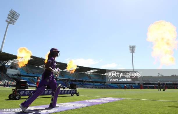 Hayley Matthews of the Hurricanes heads out to bat during the Women's Big Bash League match between the Hobart Hurricanes and the Melbourne Renegades...