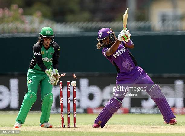 Hayley Matthews of the Hurricanes is bowled by Kristen Beams of the Melbourne Stars during the Women's Big Bash League match between the Hobart...