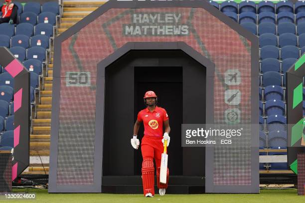 Hayley Matthews of Welsh Fire walks out to bat during The Hundred match between Welsh Fire and Southern Brave at Sophia Gardens on July 27, 2021 in...