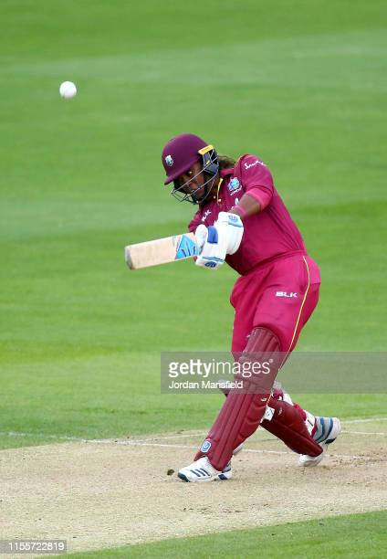 Hayley Matthews of West Indies bats during the 3rd One Day International match between England Women and West Indies Women at the Cloudfm County...