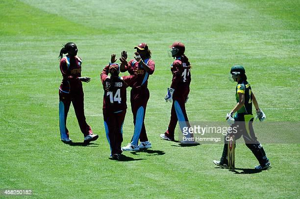 Hayley Matthews of West Indies celebrates taking the wicket of Meg Lanning of Australia during the women's International Twenty20 match between...
