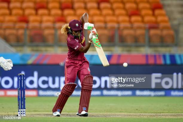 Hayley Matthews of West Indies hits the ball during the ICC T20 Women's World Cup cricket match between England and West Indies at The Sydney...