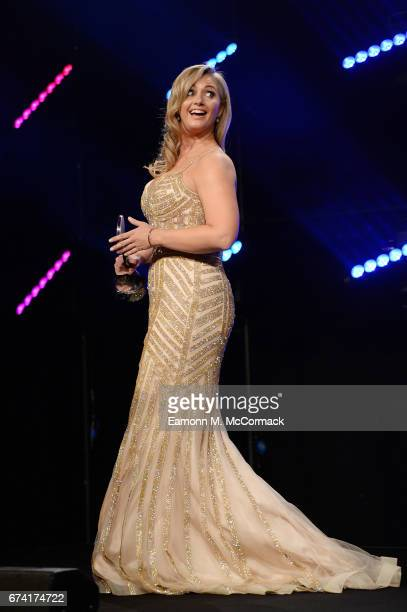 Hayley McQueen presents the Cutting Edge Sport award in association with Sela Sport during the BT Sport Industry Awards 2017 at Battersea Evolution...
