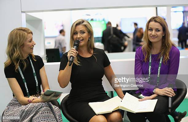 Hayley McQueen Sky Sports presenter attends day 1 of the Soccerex Global Convention 2016 at Manchester Central Convention Complex on September 26...
