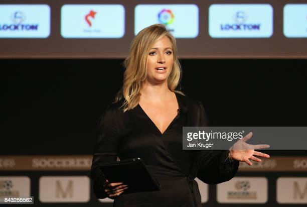 Hayley McQueen Sky Sports Presenter talks during day 3 of the Soccerex Global Convention at Manchester Central Convention Complex on September 6 2017...