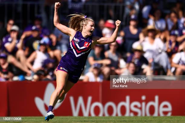 Hayley Miller of the Dockers celebrates a goal during the round four AFLW match between the Fremantle Dockers and the Gold Coast Suns at Fremantle...
