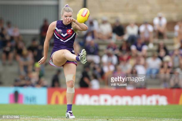 Hayley Miller of the Dockers kicks the ball during the round three AFLW match between the Fremantle Dockers and the Melbourne Demons at Fremantle...