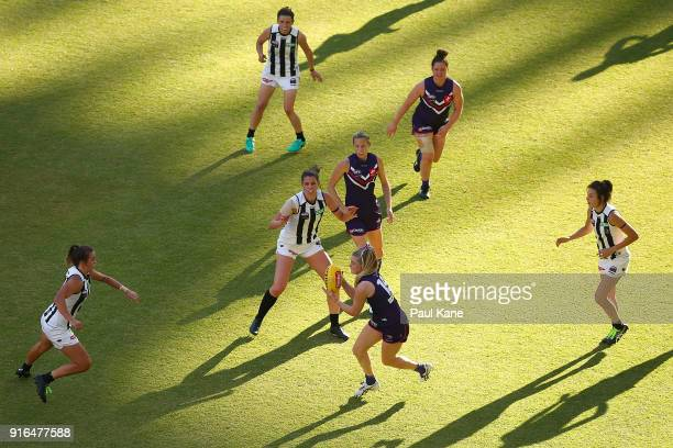 Hayley Miller of the Dockers looks to pass the ball during the round two AFLW match between the Fremantle Dockers and the Collingwood Magpies at...