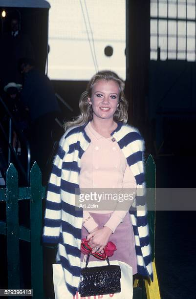 Hayley Mills wearing a black and white striped sweater circa 1960 New York