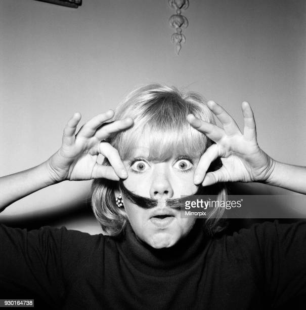 Hayley Mills wearing a genuine Dali imitation moustache which can be bought for 12s 6d 20th September 1964