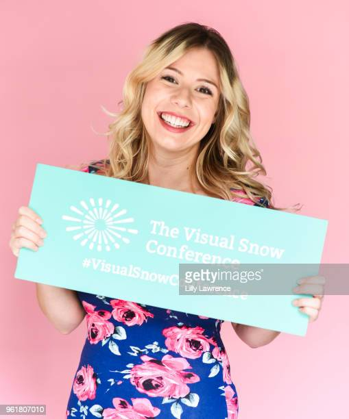 Hayley Orozco poses with Visual Snow Initiative at Giveback Day at TAP The Artists Project on May 23 2018 in Los Angeles California