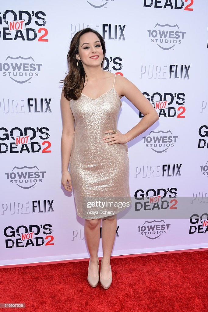 Hayley Orrantia attends the premiere of Pure Flix Entertainment's 'God's Not Dead 2' at Directors Guild Of America on March 21, 2016 in Los Angeles, California.