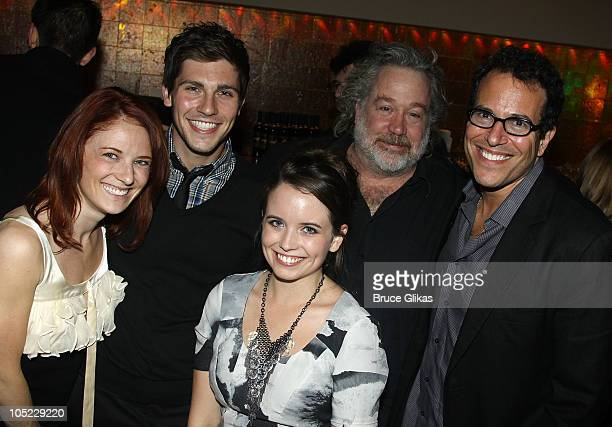 Hayley Podschun boyfriend Curt Hansen Phoebe Strole Tom Hulce and Michael Mayer pose at the 'A Life in the Theatre' opening night after party at...