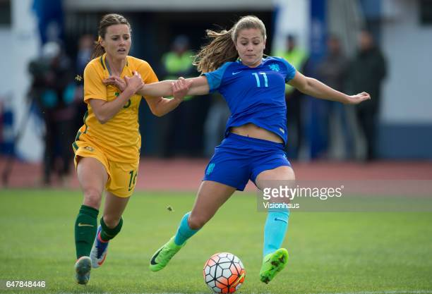 Hayley Raso of Australia and Lieke Martens of The Netherlands during the Group C 2017 Algarve Cup match between Australia Women and Netherlands Women...