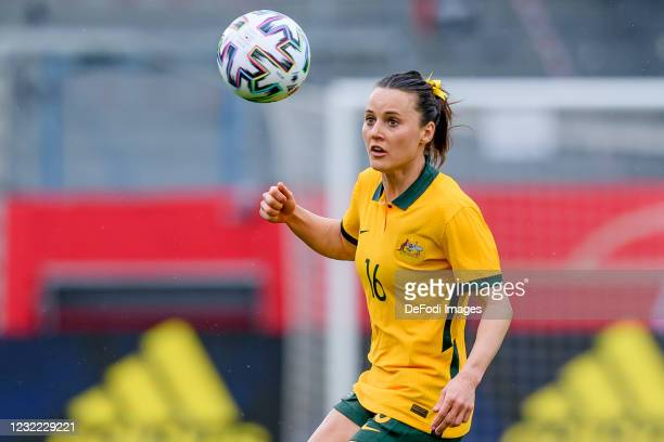 Hayley Raso of Australia controls the ball during the Women's International Friendly match between Germany and Australia at BRITA-Arena on April 10,...