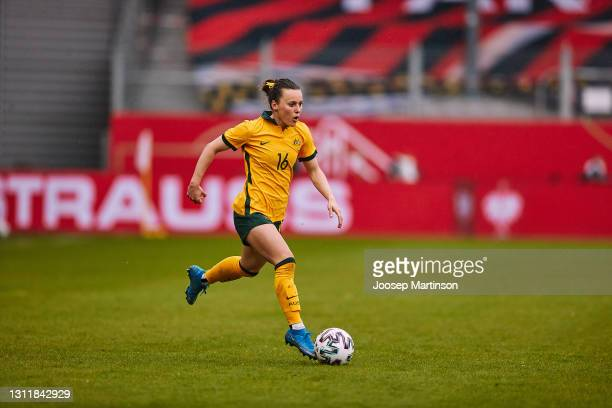 Hayley Raso of Australia dribbles the ball during the Women's International Friendly match between Germany and Australia at BRITA-Arena on April 10,...