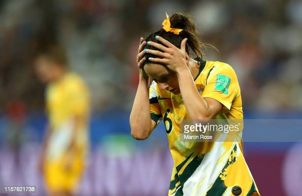 Hayley Raso of Australia reacts during the 2019 FIFA Women's World Cup France Round Of 16 match between Norway and Australia at Stade de Nice on June...