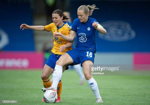 Hayley Raso of Everton and Magda Eriksson of Chelsea during the Vitality Women's FA Cup 5th Round match between Chelsea and Everton at Kingsmeadow on...