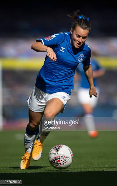 Hayley Raso of Everton in action during the Womens FA Cup Quarter Final match between Everton FC and Chelsea FC at Goodison Park on September 27 2020...