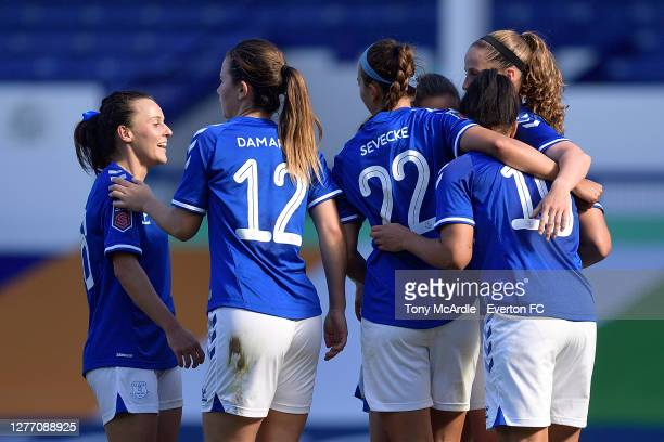 Hayley Raso of Everton Women and team mates celebrate the goal of Valerie Gauvin during the Women's FA Cup Quarter Final match between Everton and...