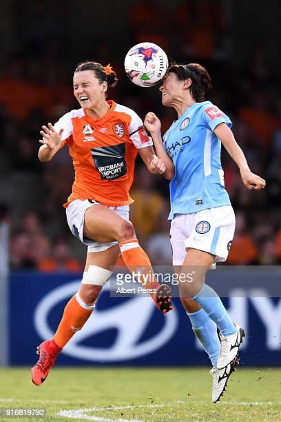 Hayley Raso of the Roar and Yukari Kinga of Melbourne City compete for the ball during the WLeague Semi Final match between the Brisbane Roar and...
