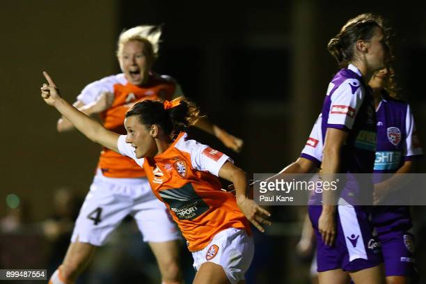 Hayley Raso of the Roar celebrates a goal during the round nine WLeague match between the Perth Glory and Brisbane Roar at Dorrien Gardens on...