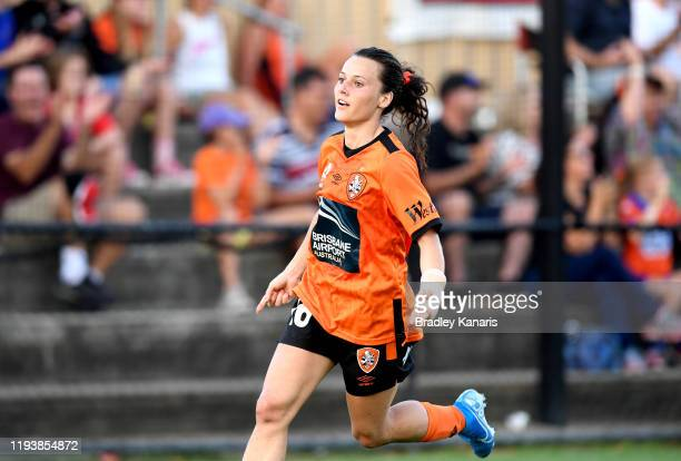 Hayley Raso of the Roar celebrates scoring a goal during the round five WLeague match between the Brisbane Roar and Adelaide United at Lions Stadium...