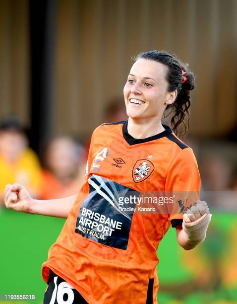 Hayley Raso of the Roar celebrates scoring a goal during the round five W-League match between the Brisbane Roar and Adelaide United at Lions Stadium...