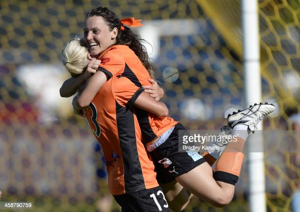 Hayley Raso of the Roar celebrates with Tameka Butt after scoring a goal during the round six W-League match between the Brisbane Roar and Sydney FC...