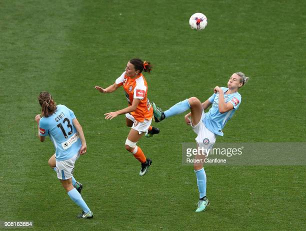 Hayley Raso of the Roar is challenged by Alanna Kennedy of Melbourne City during the round 12 WLeague match between Melbourne City and the Brisbane...