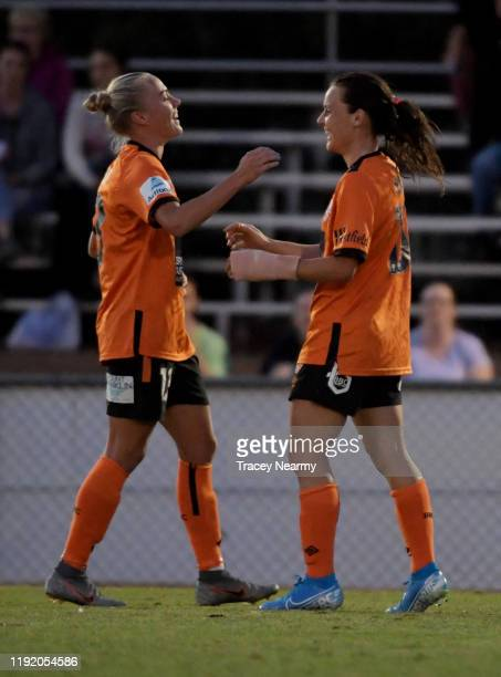 Hayley Raso of the Roar scores a goal during the round four WLeague match between Canberra United and the Brisbane Roar at McKellar Park on December...
