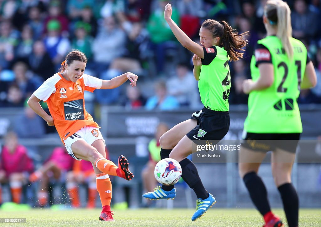 Hayley Raso of the Roar shoots for goal during the round six W-League match between Canberra United and the Brisbane Roar at McKellar Park on December 3, 2017 in Canberra, Australia.