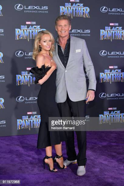 Hayley Roberts and actor David Hasselhoff attend the premiere of Disney and Marvel's 'Black Panther' at Dolby Theatre on January 29 2018 in Hollywood...