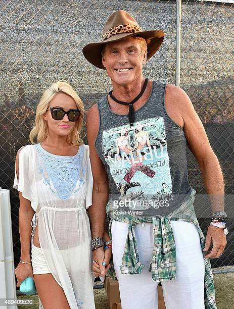 Hayley Roberts and actorsinger David Hasselhoff attend day 2 of the 2015 Coachella Valley Music Arts Festival at the Empire Polo Club on April 11...